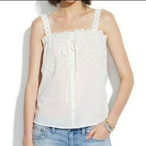 Madewell Embroidered Eyelet Tank Top Cami Shirt